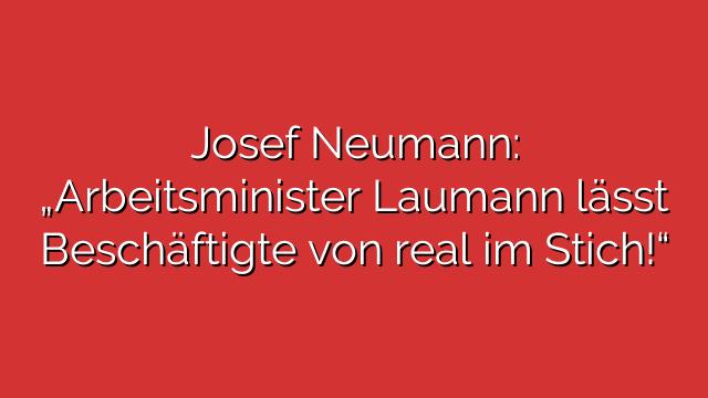 """Josef Neumann: """"Arbeitsminister Laumann lässt Beschäftigte von real im Stich!"""""""