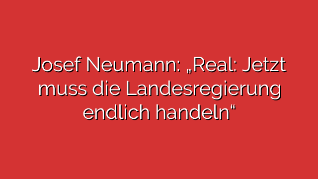 """Josef Neumann: """"Real: Jetzt muss die Landesregierung endlich handeln"""""""