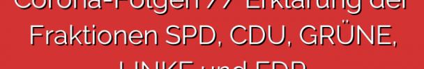 Corona-Folgen // Erklärung der Fraktionen SPD, CDU, GRÜNE, LINKE und FDP